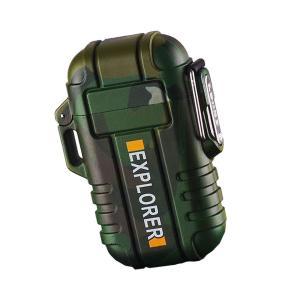 ライター 迷彩 防水 電子 USB 充電式 ガス 無炎 防風 電気 アーク プラズマ GUNLITER-ME|kasimaw|06