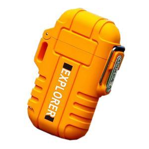 ライター オレンジ 防水 電子 USB 充電式 ガス 無炎 防風 電気 アーク プラズマ GUNLITER-OR|kasimaw|06