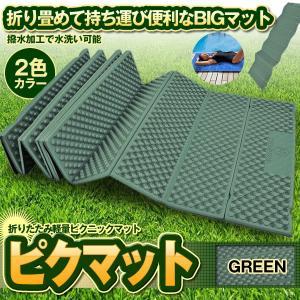 ピクマット グリーン レジャーマット ピクニック 折りたたみ 軽量 厚手 凹凸 フォームマット 防水 192 56cm PIKMAT-GR|kasimaw
