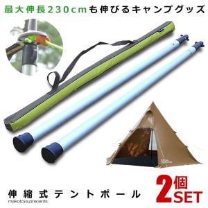 テントポール 伸縮式 2本セット 軽量 アルミ製 回して タープポール アルミ製 キャンプ 最大伸長 270cm SINPOUL|kasimaw