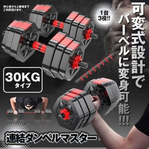 連結ダンベルマスター 30kg タイプ ポリエチレン製 筋力トレーニング ダイエット シェイプアップ 静音 筋トレ マッチョ RENDANBE-30|kasimaw