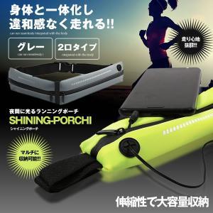 シャイニングポーチ チャック2個 グレー 軽量 ランニング ジッパー 柔軟性 スポーツ 旅行 携帯 財布 収納 SHAIPOTI-2-GY kasimaw
