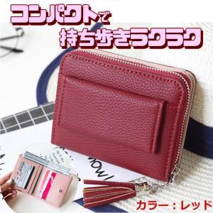 小銭入れ カード収納 スキミング 防止 カード ケース 小さい財布 2つ折り 財布 RFID 旅行 防犯 レッド SMALLSAIFU-RD kasimaw