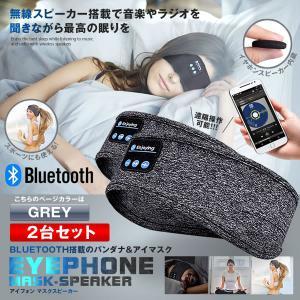BLUETOOTH5.0搭載 アイマスク グレー 2台セット 安眠 スポーツ バンダナ 睡眠 イヤホン 無線 音楽 ミュージック 睡眠 スピーカー スマホ 2-IMATOOTH-GY|kasimaw