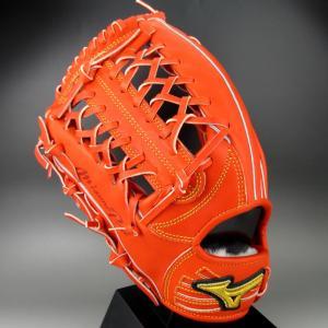BSSショップ限定 ミズノ 一般軟式外野手用 左投げ ミズノプロ フィンガーコアテクノロジー 岡島モデル 1AJGR20207 (52H)スプレンディッドオレンジ|kasukawa
