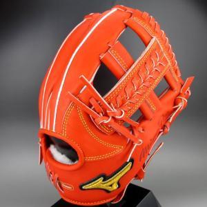 BSSショップ限定 ミズノ 一般軟式内野手用 右投げ ミズノプロ フィンガーコアテクノロジー 内野手AXIモデル 1AJGR20223 (52)スプレンディッドオレンジ kasukawa