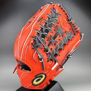 アシックス 一般軟式外野手用 右投げ ゴールドステージ SPEEDAXEL 3121A202(601)Rオレンジ×ブラック kasukawa