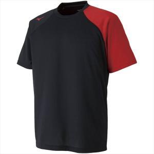 MIZUNO ミズノ Tシャツ 96:ブラック×チャイニーズレッド カスカワスポーツ