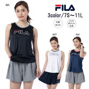 (ZABOON店商品) FILAのロゴデザイン4点セット水着です。  タンキニ・ショーツ・ショートパ...