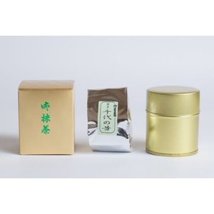 宇治抹茶 濃茶「千代の昔」40g缶入り 原ヲビヤ園茶舗 大正時代創業の老舗茶屋 kataharamachi