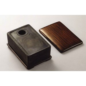 STW-1902 長方環紋刻「松下士」銘端硯 13.3x8.5xH4.7cm kato-trading2