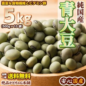 米 雑穀 雑穀米 国産 青大豆 5kg(500g x10袋) 送料無料 5400円以上お買い物でクーポン有|katochanhonpo