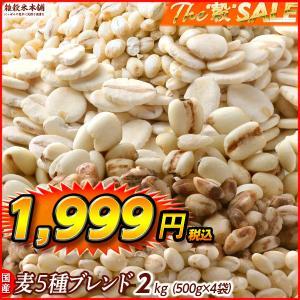 絶品感謝還元祭 国産 麦5種ブレンド(丸麦/押麦/はだか麦/もち麦/はと麦) 2kg(500g x4 袋) 徳用サイズ 徳用サイズ|katochanhonpo