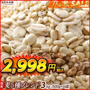 絶品 国産 麦5種ブレンド(丸麦/押麦/はだか麦/もち麦/はと麦) 3kg(500g x6袋) 徳用サイズ 徳用サイズ 送料無料|katochanhonpo