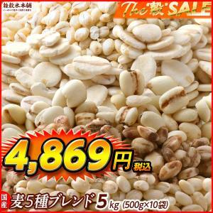 絶品感謝還元祭 国産 麦5種ブレンド(丸麦/押麦/はだか麦/もち麦/はと麦) 5kg(500g x10袋) 業務用サイズ  送料無料|katochanhonpo