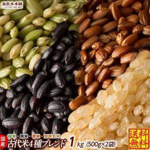 雑穀 古代米4種ブレンド 1kg  (500g×2袋) (赤米 黒米 緑米 発芽玄米) 国産 人気サイズ 送料無料|katochanhonpo