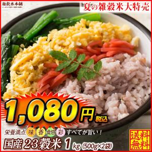 米 雑穀 雑穀米 国産 栄養満点23穀米 1kg(500g x2袋) 送料無料 国内産 もち麦 黒米 プレミアム SALE|katochanhonpo