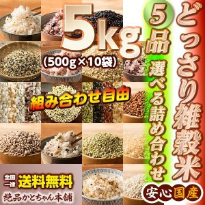 米 雑穀 雑穀米 国産 どっさり雑穀米 5kg(500g x10袋)セット 17種から5品選べる 組み合わせ自由 雑穀米本舗|katochanhonpo