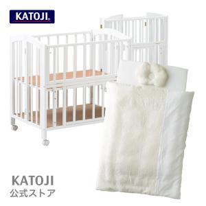 ミニベビーベッド [セット商品]|折り畳みミニベッド[収納板付き][ハイタイプ]アーチ+日本製 和晒ミニ布団[スタードット]|katoji