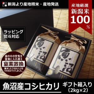 魚沼産 コシヒカリ 4kg 2kg×2袋 30年産 新潟米 産地直送 贈答用 ギフト箱入り 特産品 名物商品|katoseika
