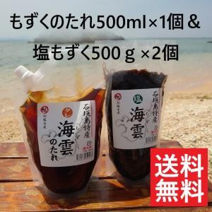 もずく 沖縄県 石垣島産 塩もずく&もずくのたれセット もずく酢 フコイダン 海藻 送料無料|katsusuisanmozuku