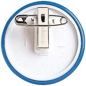 コクヨ 丸型名札安全ピン・クリップ両用型 直径50mm青
