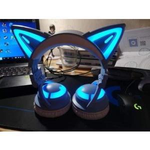 NEW 第3世代 LED付き 高機能 ネコ耳ヘッドフォン10色 自由変換 4種 フラッシュ モード 無線 Bluetooth5.0 マイク|kavutens