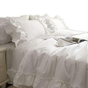 SIBAIER 布団カバーセット ホワイト シングル 三点セット:掛け布団カバー ベッドスカート 枕カバー|kavutens