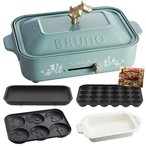 BRUNO ブルーノ コンパクトホットプレート 本体 プレート3種 ( たこ焼き セラミックコート鍋 平面 ) レシピブック 付き ムーミン|kavutens