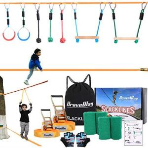 BRAVEWAY スラックライン セット 遊具 スポーツ練習 フィットネス バランス 体幹 トレーニング アウトドア 子供 家庭用 12 m|kavutens
