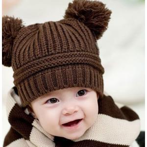 子供用 帽子 ニット帽 ボンボン付き リブニット 手編み風 ニットキャップ 赤ちゃん ベビー シンプル 無地 冬帽子