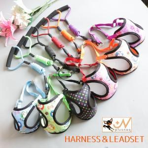 ハーネスリードセット ハーネス&リード 胴輪 リーシュ ベストタイプ メッシュ 犬用 イヌ用 ドッグ 小型犬 超小型犬 DOG ドット柄 水玉模様 可|kawa-e-mon