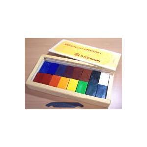 シュトックマー 蜜ろうクレヨン 16色木箱セット (ブロックタイプ)|kawachigazai