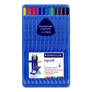 ステッドラー エルゴソフト 水彩色鉛筆12色 三角軸|kawachigazai