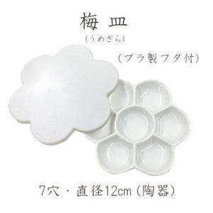 ホルベイン 梅皿(うめざら) 12cm 7穴絵皿プラスチックのフタ付き 水彩画 アクリル画 日本画|kawachigazai
