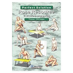 多角的人体ポーズ集 オールポーズ 7_Sitting poses(b)|kawachigazai