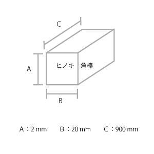 建築模型材料 ヒノキ角棒 2x20mm 3本組|kawachigazai