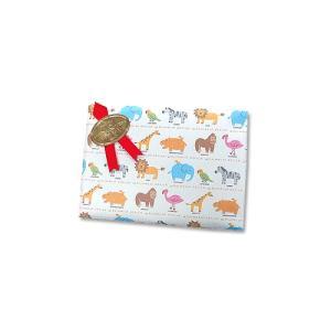 画材のギフト包装 基本のラッピング(無料) KIDS向け動物包装紙とリボンシール・赤|kawachigazai