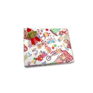 画材のギフト包装 基本のラッピング(無料) レトロイラスト包装紙とリボンシール・赤|kawachigazai