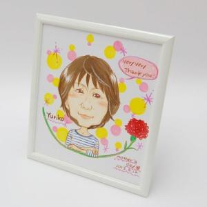 chiakiの似顔絵額装品 お一人用 フレーム色 ホワイト|kawachigazai