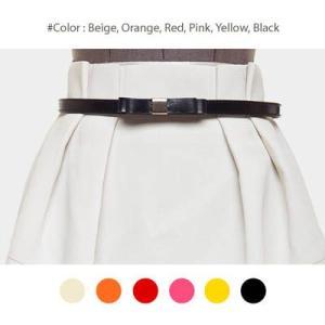 【bl8227】ワンピースやスカートのワンポイントとして使える細いデザインの革リボンベルト(6色)|kawaicat