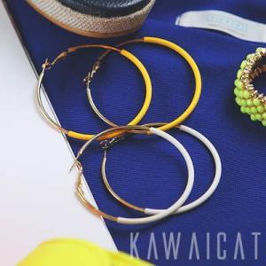 【ea8849】ビッグサイズで明るいカラーデザインが特徴的♪クールな配色が素敵なビッグイヤリング|kawaicat