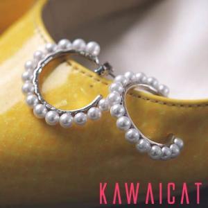 【ea8921】ちょうどいいサイズ感のイヤリングにパール装飾でエレガント♪パールリングピアス(銀針ピアス)|kawaicat