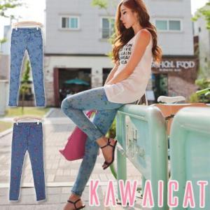 【pt9039】に履けるバンディングタイプのフラワーデニムバンディングスキニーパンツ|kawaicat