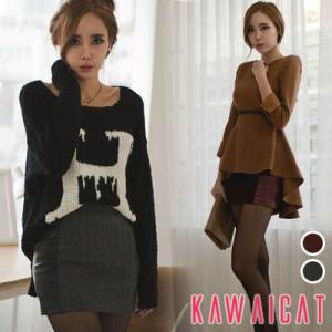【sk10372】サイドのレザー配色でスリム効果を与えてくれるレザー切り替えウールスカート|kawaicat
