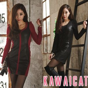 【C-style】【op10523】セクシーな印象に!パフショルダーレザー切り替えワンピース|kawaicat