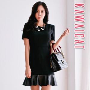 【op12522】レザーでポイントを与えた裾でフェミニンムードUp☆裾レザー配色フレアワンピース|kawaicat