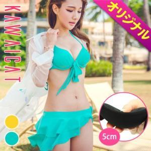 【オリジナル商品】【bk14385】ホルターネック胸リボン付き斜めフリルビキニセット水着【GUMZZI】【グムジ】 kawaicat