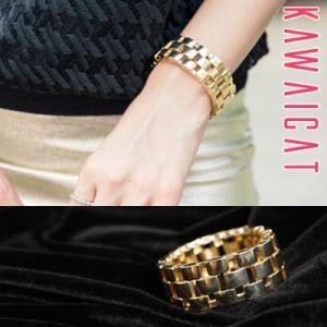 【br15012】腕時計チェーン風デザインがおしゃれ♪ゴールドウォッチチェーンブレスレット|kawaicat