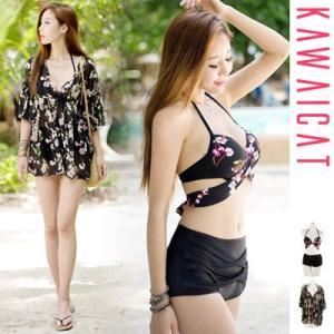 【bk17103】女性らしい魅力が溢れるデザイン♪さくらビキニ水着+シフォンカバーアップ(3点セット) kawaicat